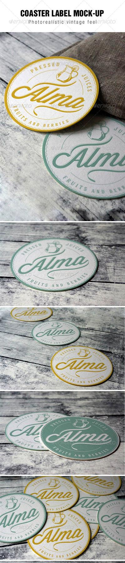 Coaster Label Mockup 8004457