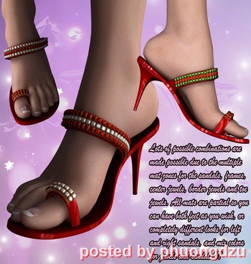 [3dDaz-poser] Glamour Jeweled Sandals