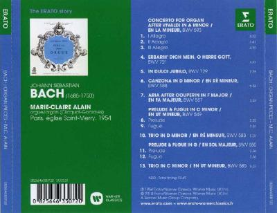 Bach – Organ Pieces (Marie-Claire Alain, Paris, eglise Saint-Merry, 1954) / 2014 Erato/Warner Classics