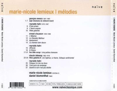 """Marie-Nicole Lemieux (contralto) - """" l'heure exquise """" / 2007 Naïve"""