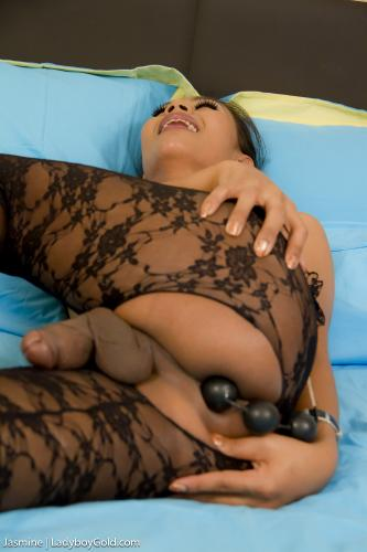 Jasmine - Black Bodysuit Anal Beads